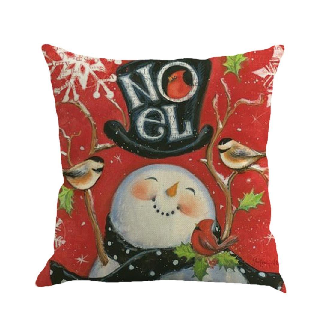 クリスマス枕ケース、beautyvanクリスマスLinen Square Throw亜麻枕ケース装飾クッション枕カバー 45cm *45cm 354 B077BC7SXG 6~A
