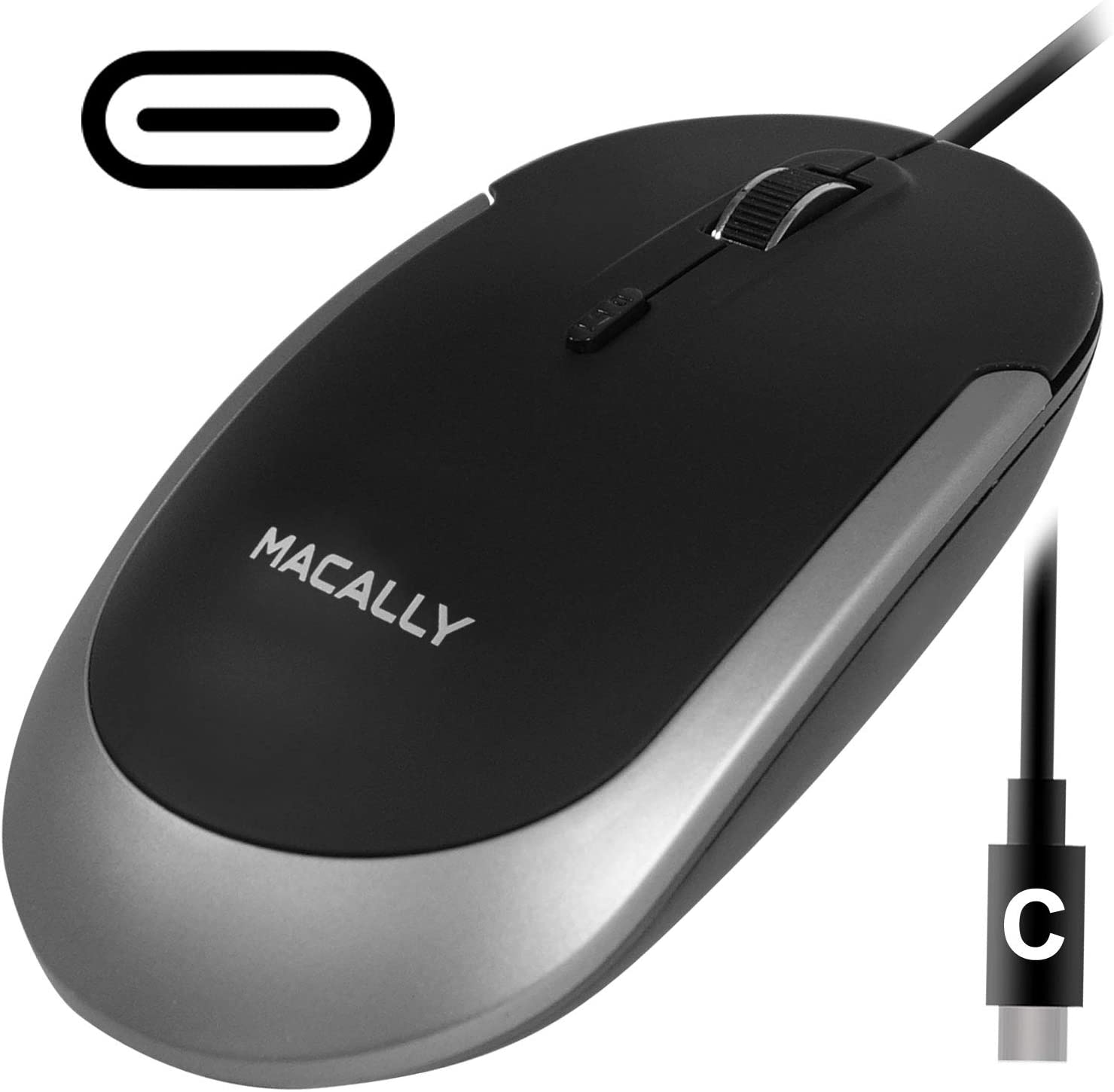 Macally USB Type C Mouse - Slim & Compact Design - USB C Mouse for MacBook Pro iMac PC etc. - Simple 3 Button & Scroll Wheel Layout with DPI Switch - Comfortable Plug & Play Corded Mouse - (Black)