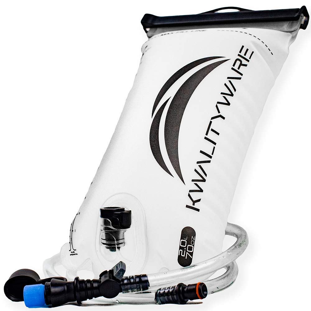 KwalityWare Hydration Bladder 2 Liter - Nourishes Active Body for 4 Hours with Soft Durable Mouthpiece. Perfect Adventurers' On-The-Go Leakproof Water Bladder for Hydration Pack. by KwalityWare
