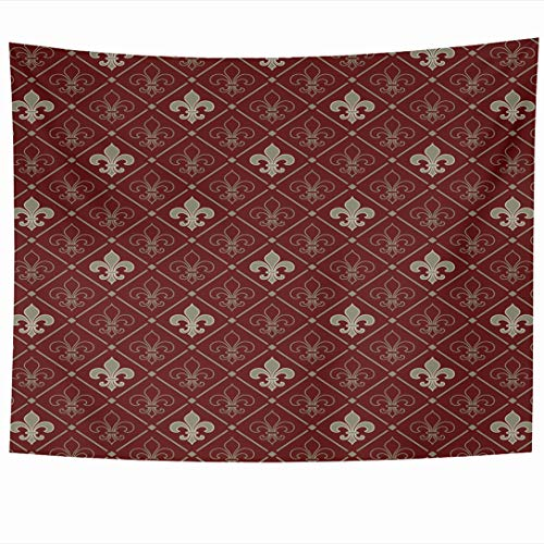 Ahawoso Tapestry 90 x 60 Inches Pattern Red Lis Fleurdelis Fleur Floral Medieval Lily Upholstery Royal Wall Hanging Home Decor Tapestries for Living Room Bedroom Dorm