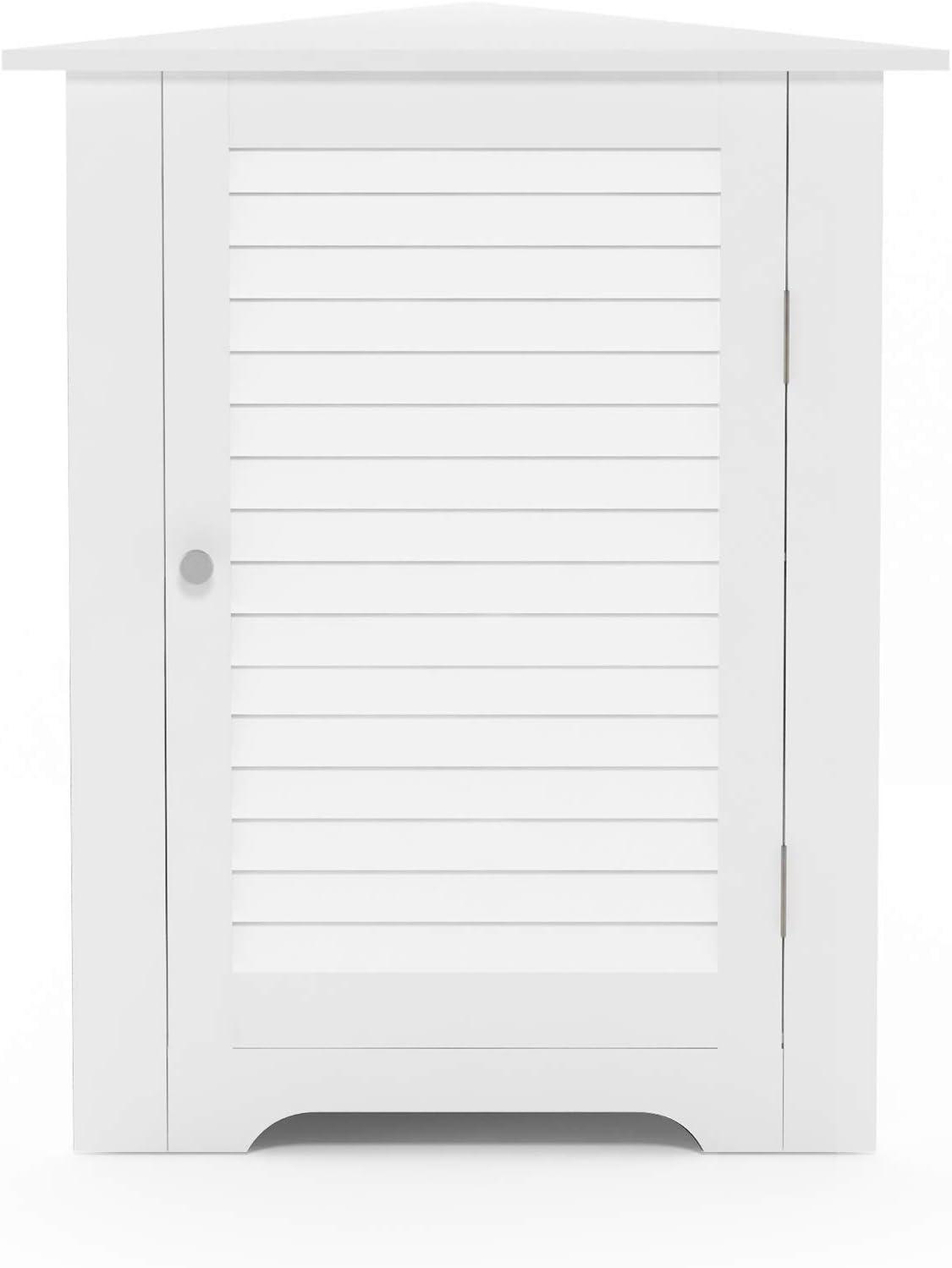 Furinno Indo Corner Louver Door Cabinet, White