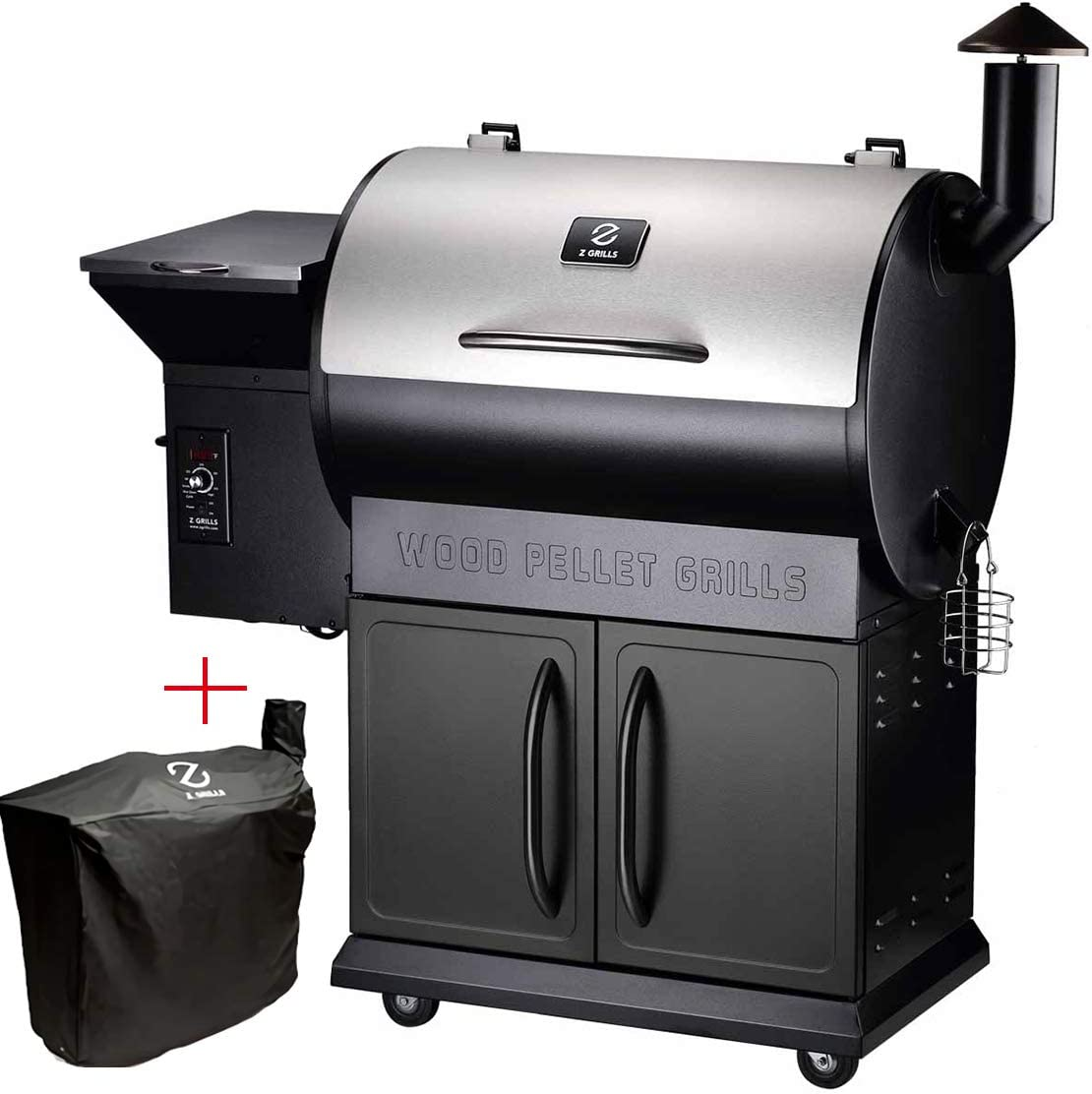 Z GRILLS ZPG-700E 2020 New Model Wood Pellet Grill Smoker, Black, Free Grill Cover