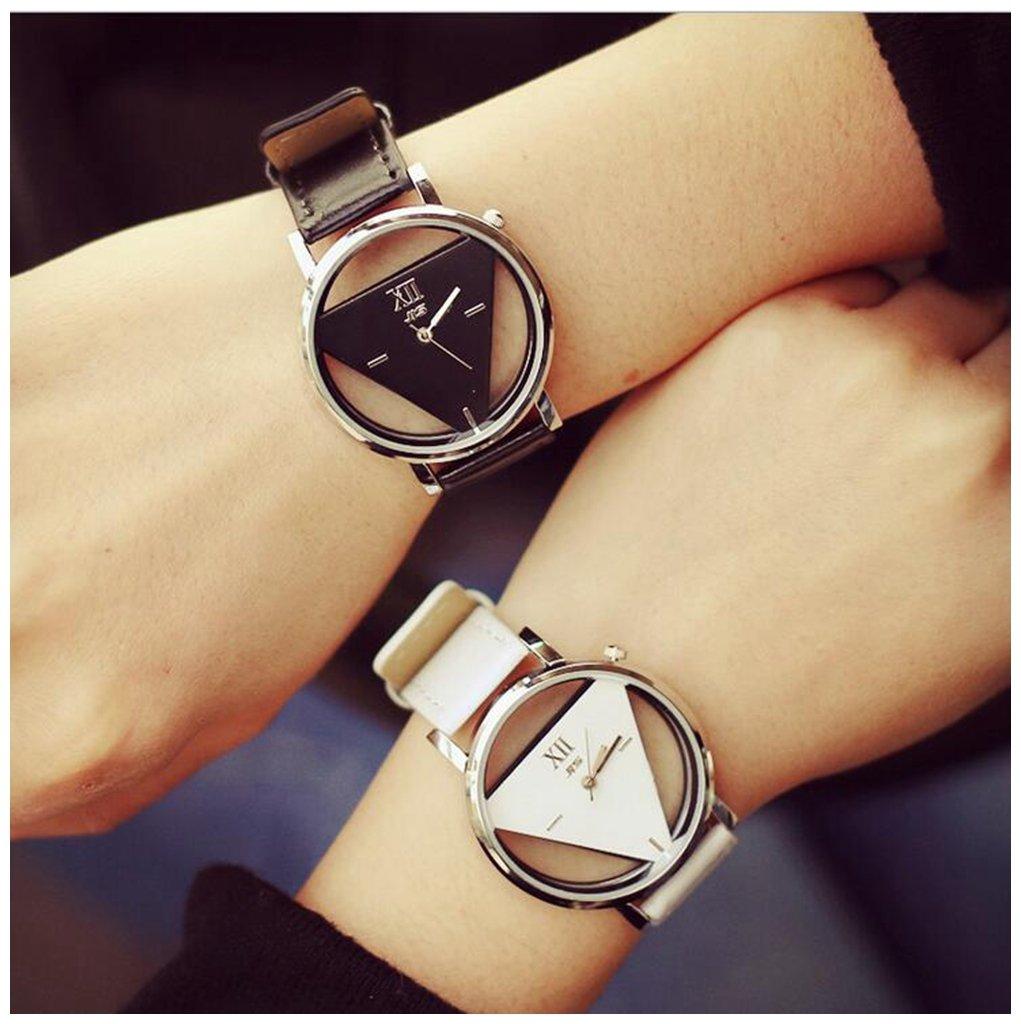 LinTimes Fashion Men Women Watch Triangle Quartz Analog Students Couple Wristwatch 2pcs Black White