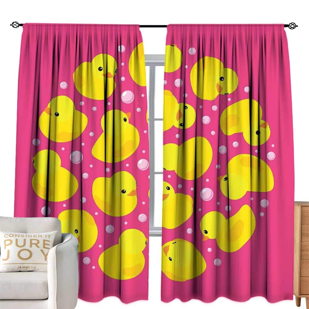 cobeDecor Extra Wide Curtains Rubber Duck Fun Baby Duckies Circle Artsy Pattern Kids Bath Toys Bubbles Animal Print Pink and Yellow Soft Texture W120 xL96