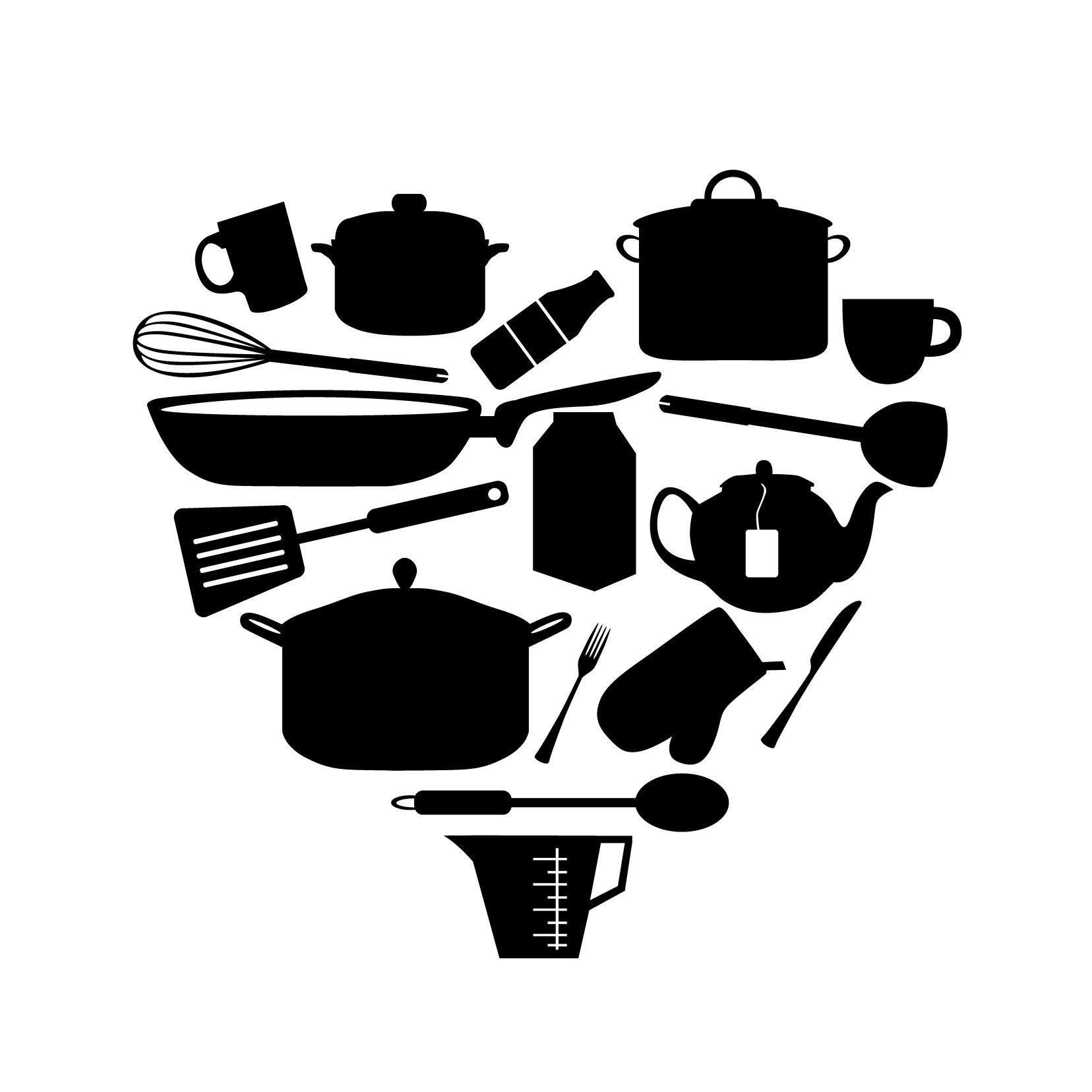 Kitchen Items Heart - Vinyl Wall Art Decal for Homes, Offices, Kids Rooms, Nurseries, Schools, High Schools, Colleges, Universities, Interior Designers, Architects, Remodelers