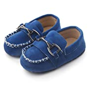 Greceen Baby Nubuck Vamp Soft Sole Toddler Loafers Boat Shoes Crib Shoes(106 0-6 Months Blue)