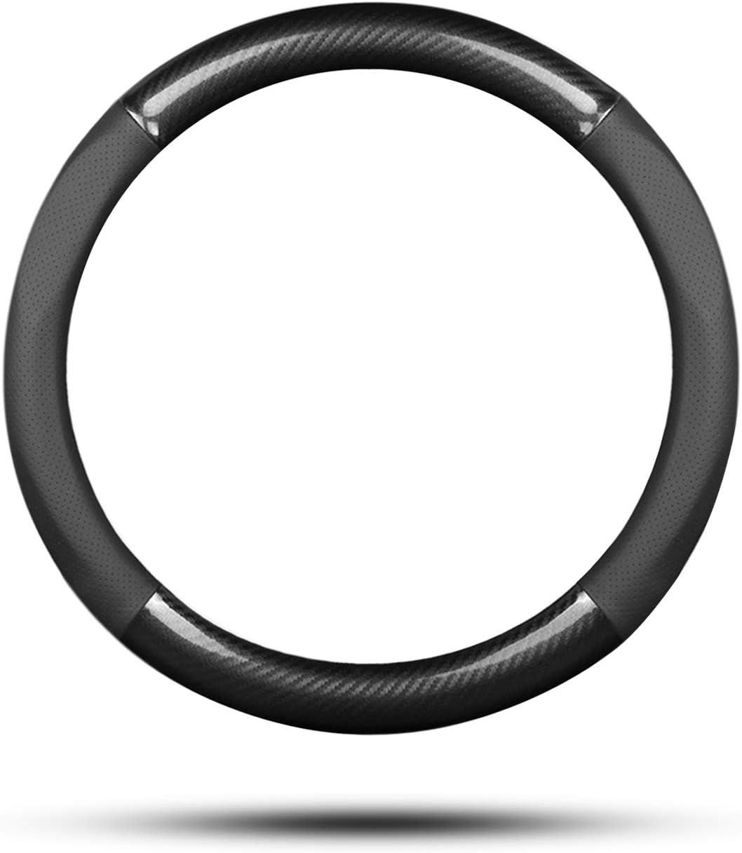 15 Negro Ergocar Funda Volante De Coche Antideslizante Volante De Coche Protector Deporte Fibra de Carbono /& Cuero PU Para Di/ámetro 38cm