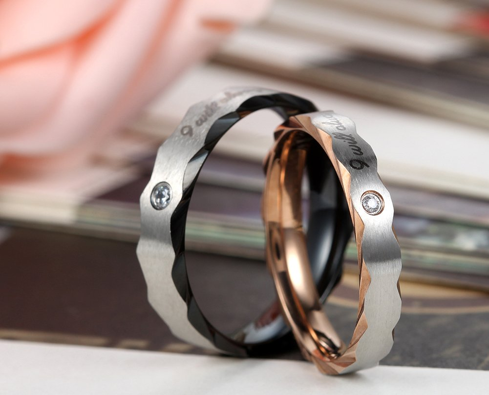 Flongo Mens 5mm I Will Always Be with You Stainless Steel Wedding Engagement Promise Ring Band, Size 8 by Flongo (Image #3)