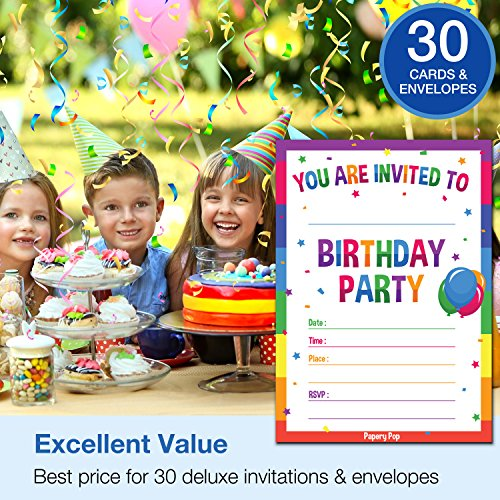 30 Birthday Invitations with Envelopes - Kids Birthday Party Invitations for Boys or Girls - Rainbow
