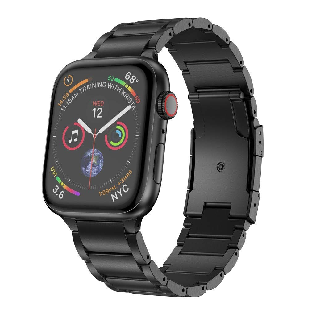 Fine Compatible for Apple Watch Band 38mm /42mm 44mm/42mm, Titanium Metal Watch Strap with Double Button Clasp Compatible Premium Watch Band for Apple Watch Series 4/3/2/1 (Black, 40mm 38mm)