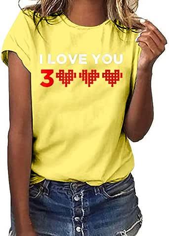 Luckycat Camisetas de Mujer Tallas Grandes Camisetas de Verano Mujer Manga Corta Tops Blusa Casual Señoras Camisetas de Algodón Blusas de Estampado de I Love You Three Thousand Times: Amazon.es: Ropa y