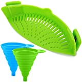 Silicone Snap Strainer with 2 Collapsible Funnels, FineGood Hands-free Clip-on Heat Resistant Colander Pour Spout for Pasta Vegetable Noodles Pot bowl Pan - Green