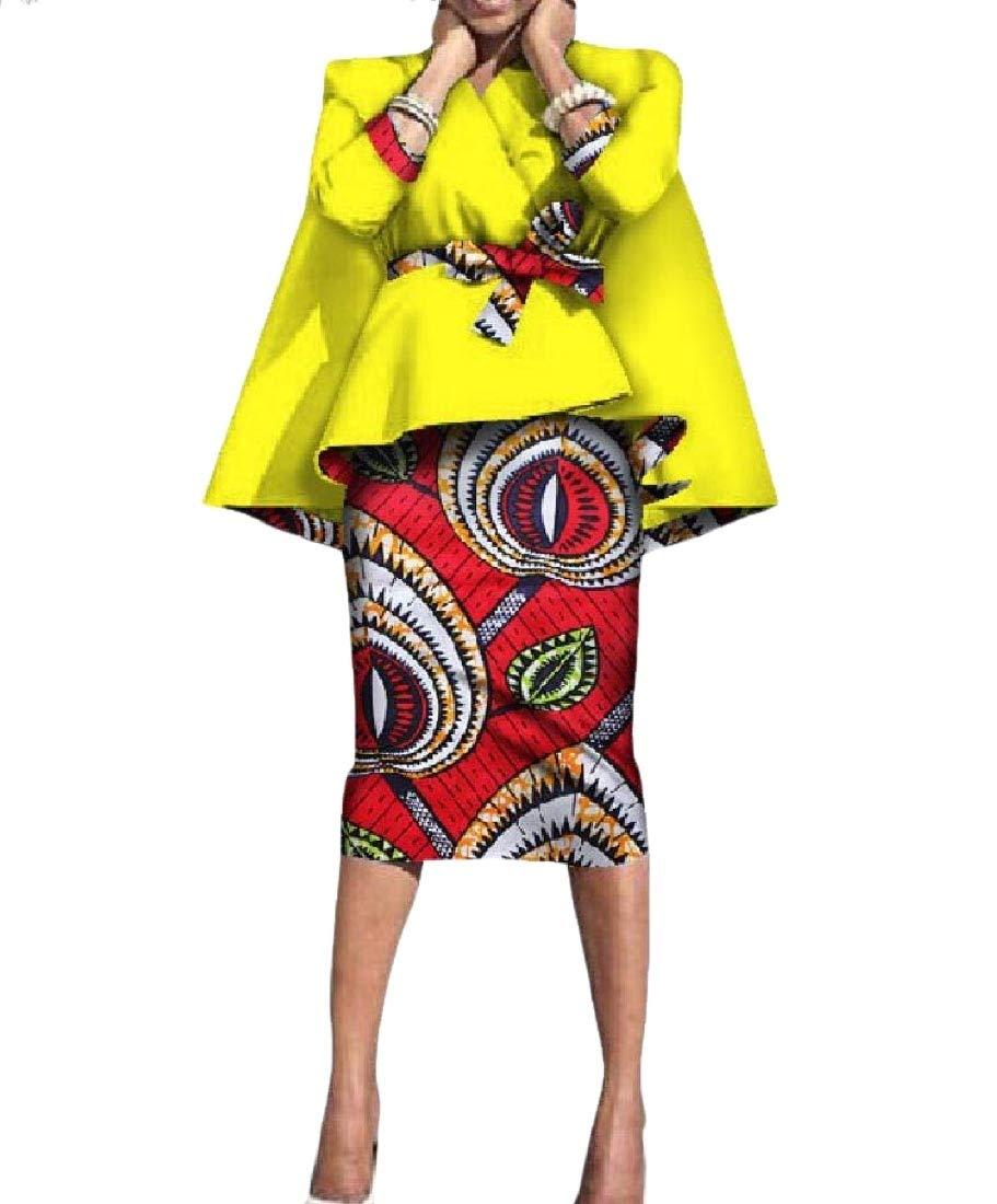 SportsX Women Africa Dashiki Accept-Waist 2-Piece Batik Classic Bodycon Skirt 4 M