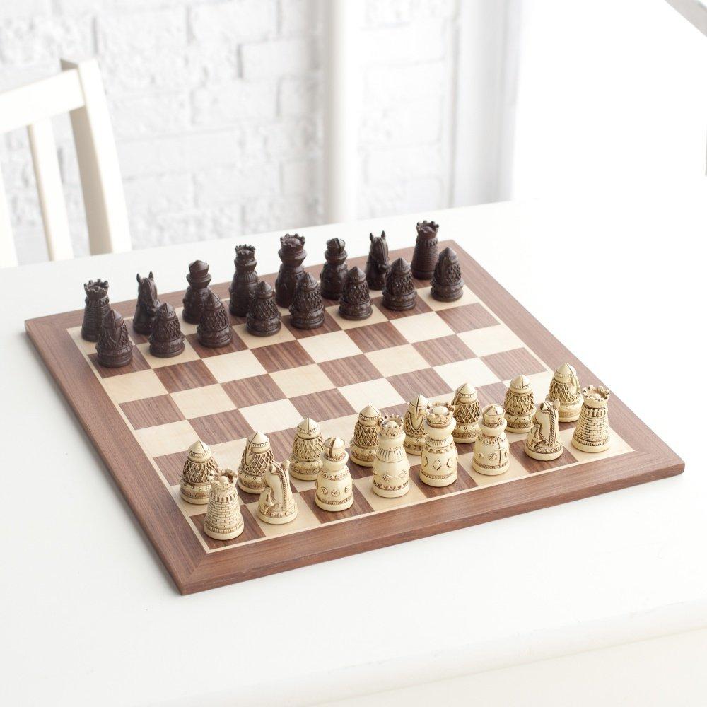 【タイムセール!】 Complete Ivory Medieval Artisan Polystone Brown and Ivory Polystone Chess Chess Set B01MS6CEWW, 伊奈町:b9df4d1f --- cygne.mdxdemo.com
