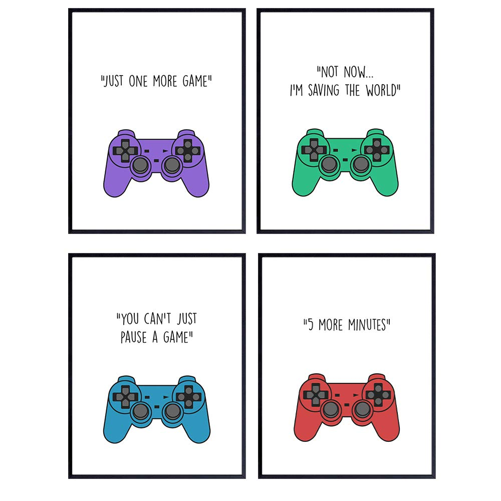 Amazon Com Video Games Remote Control Quotes Funny Controller Gaming Sayings For Game Room Boys Bedroom Gift For Men Teens Playstation Ps4 Xbox 360 Nintendo Gamers 8x10 Wall Art Decor
