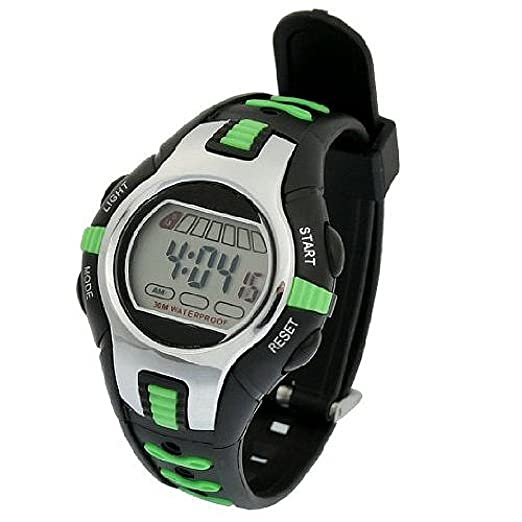 SODIAL(R) Reloj Digital Deportivo Pulsera de Plastico Ajustable Negro Verde para Ninos: Amazon.es: Relojes