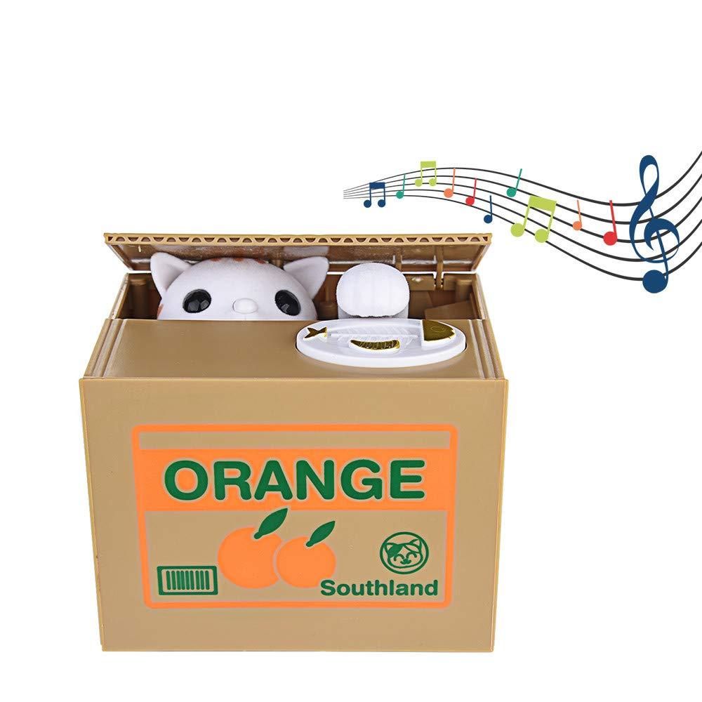 Amazon.com: LtrottedJ My Cat Bank, Robotic Coin Munching Toy Money Box Saving Childrens Bank (B): Toys & Games