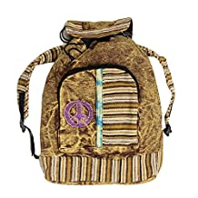 Lungta Imports Hippie Bohemian Raw Cotton Handmade Backpack Brown