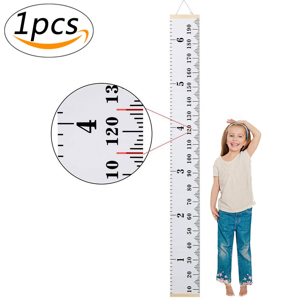Growth Chart Wall Hanging Ruler for Baby Kids Canvas Removable Height Measurement Ruler for Nursery Room Decoration, 79x7.9 (style1) 79x7.9 (style1) Ouchver