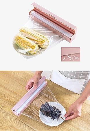 gaddrt Cling Film Dispensador de papel de aluminio y cortador de papel film de cocina y cortador Dispensador de película rosa: Amazon.es: Hogar