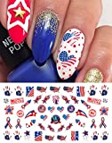4th of July I Love America Nail Art Waterslide Decals Set #2 - Great for Memorial Day! - Salon Quality!