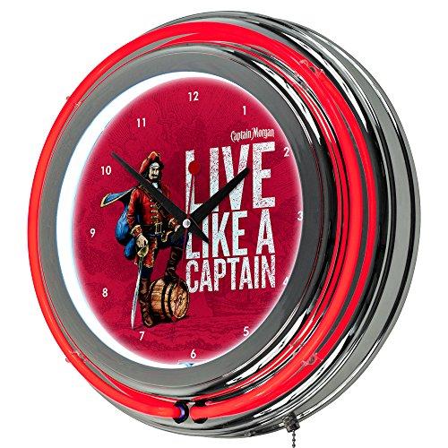 Captain Morgan Chrome Double Rung Neon Clock (Morgan Clock Glass)