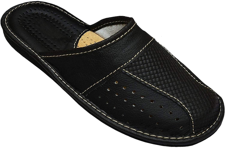 Men's House Slippers Leather Slippers for Men MZ02