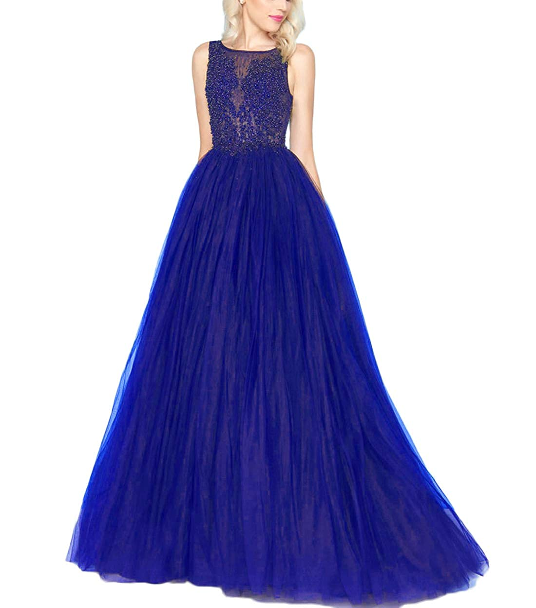 Royal bluee Yisha Bello Women's ALine Pearls Beaded Pro Dress Long Tulle Quinceanera Dress Evening Ball Gowns