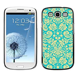 Slim Protector Shell Hard Case Cover for Samsung Galaxy S3 I9300 Wallpaper Vintage Floral Blossoms Turquoise Art / STRONG