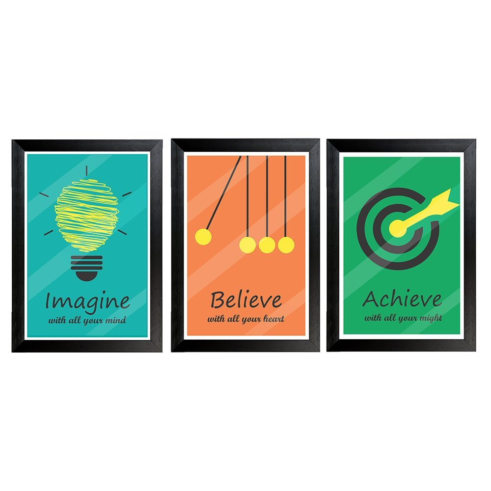 Combo pack of Motivational Quote Framed wall poster | (12X18) | Set of 3