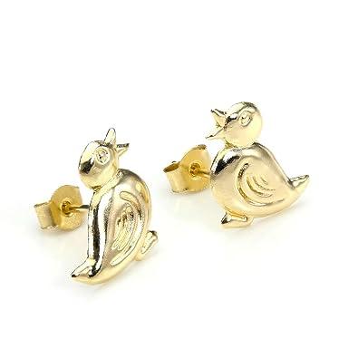 9ct Gold Cute Duck Stud Earrings/Studs/Earring PQxCINY