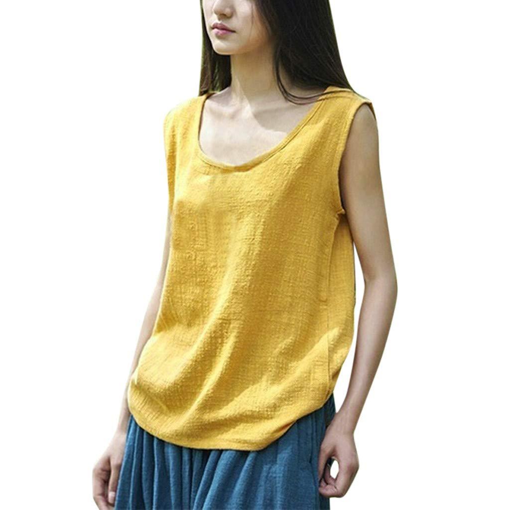 Women Casual Blouse Cotton Linen Vintage Shirt Loose Sleeveless O-Neck Crop Tank Tops (Yellow, M)