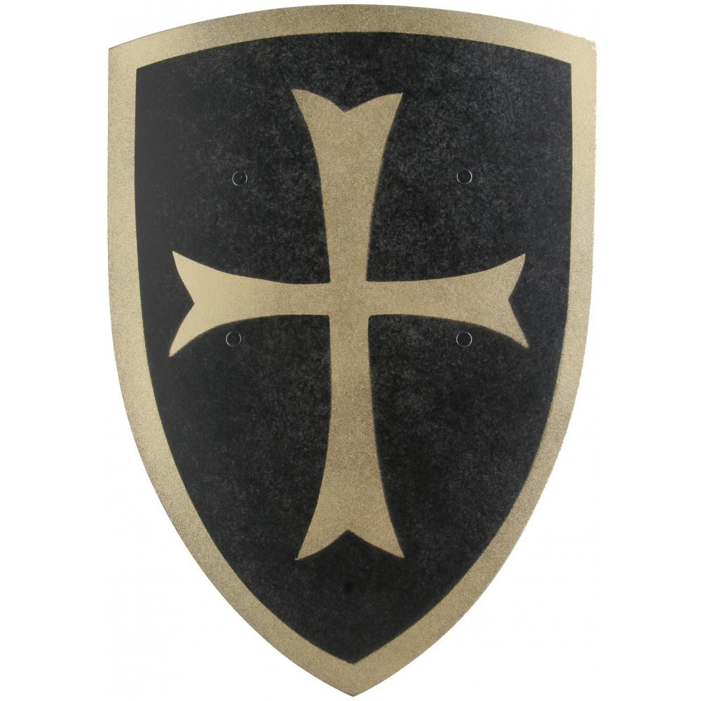 Black Crusader Knight Wooden Shield (Large) - Kids Accessory A2Z Kids