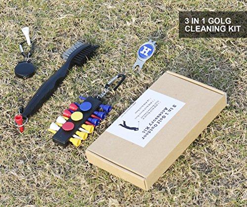 Limpiador de Palos de Golf, Toalla de Microfibra (40 x 40 cm) con mosquetón, Herramienta de reparación de chuletas con Marcador de Bola - Kit de ...