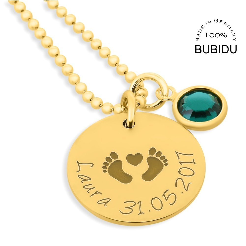 Namens Anhänger Babyfüße Lasergravur BOX Monatsstein Silber Halskette