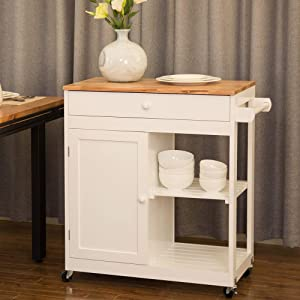 Glitzhome Kitchen Island on Wheels Portable White Rolling Kitchen Cart Solid Wooden Top and Shelf Storage Table Multi-Function, 34.45''H