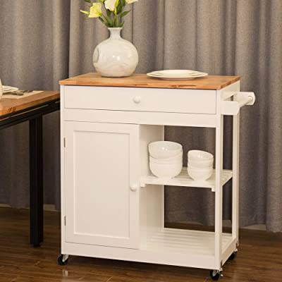 Buy Glitzhome Kitchen Island On Wheels Portable White Rolling Kitchen Cart Solid Wooden Top And Shelf Storage Table Multi Function 34 45 H Online In Indonesia B07r5sfpxd