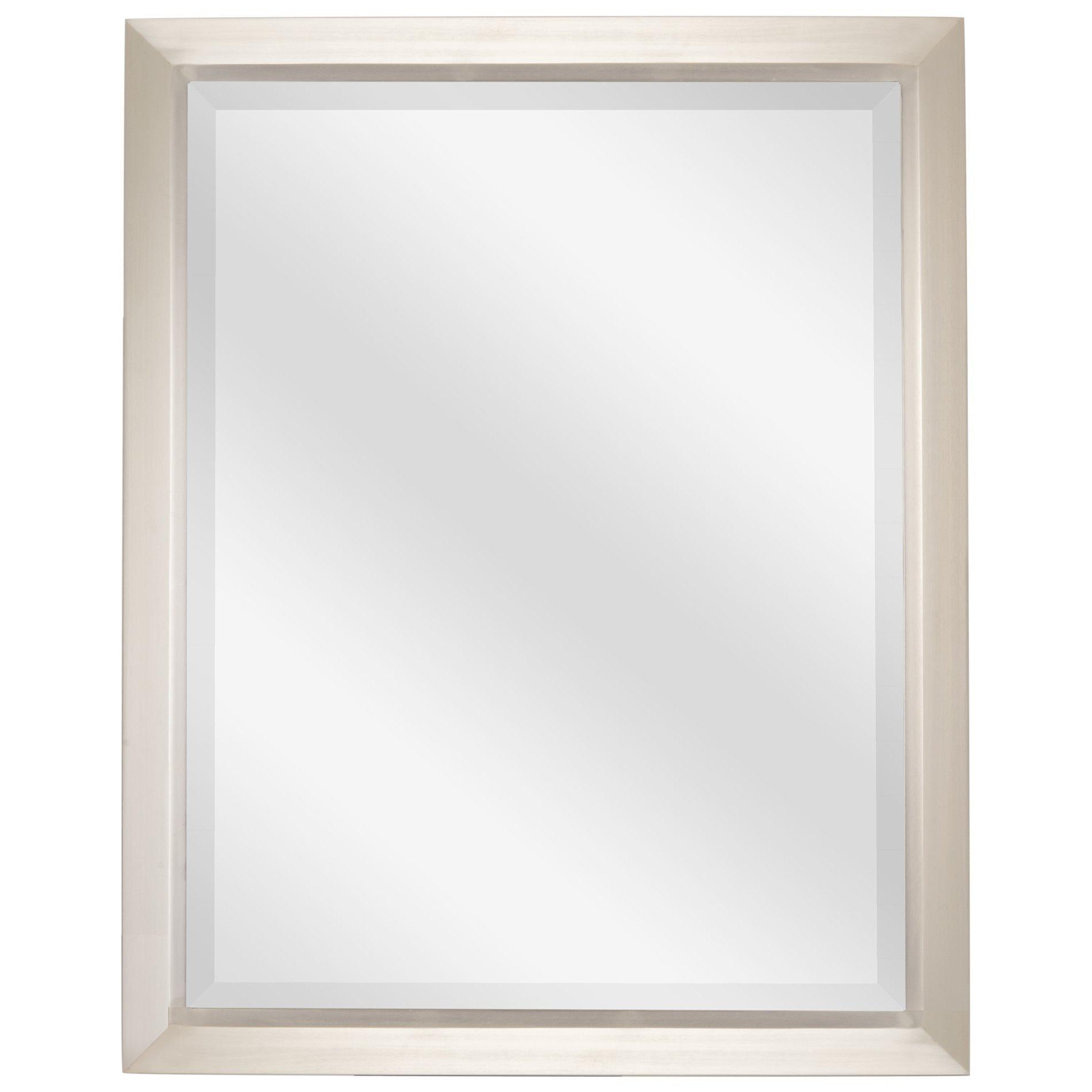 Revel Madison 30''x 24'' Large Modern Rectangle Decorative beveled mirror + Brushed Nickel Finish by Revel