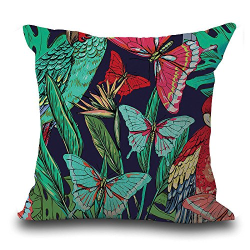 GOVOW Vintage Halloween Decorations Flower Tropical Leaves Waist Throw Pillow Case Cushion Cover Home Decor -