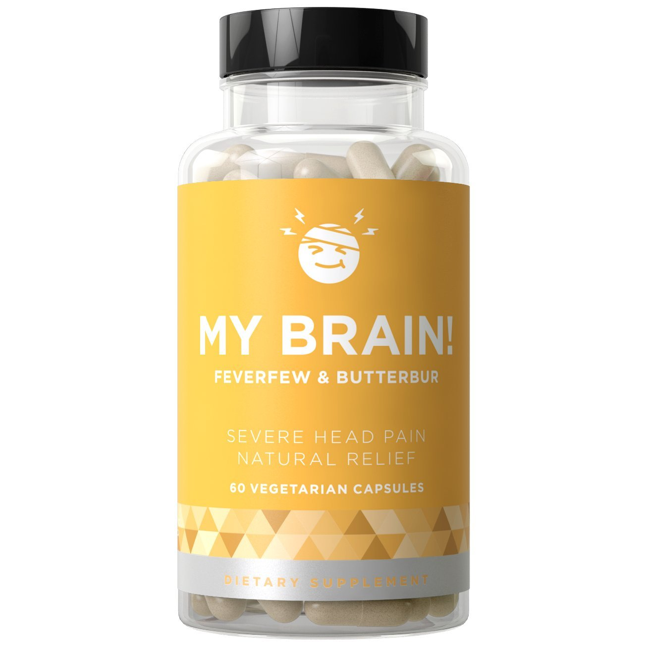 MY BRAIN! Headache & Migraine Relief - Fight Severe Pain, Nausea, and Sensitivity from Tension and Chronic Strain - Butterbur, Feverfew, Magnesium - 60 Vegetarian Soft Capsules