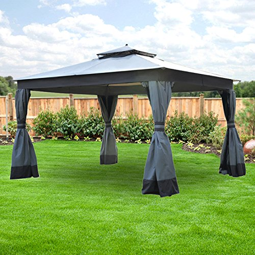 Garden Winds Lcm1158bcn Rs Replacement Canopy And Net Allen Roth Two Tier Finial Gazebo