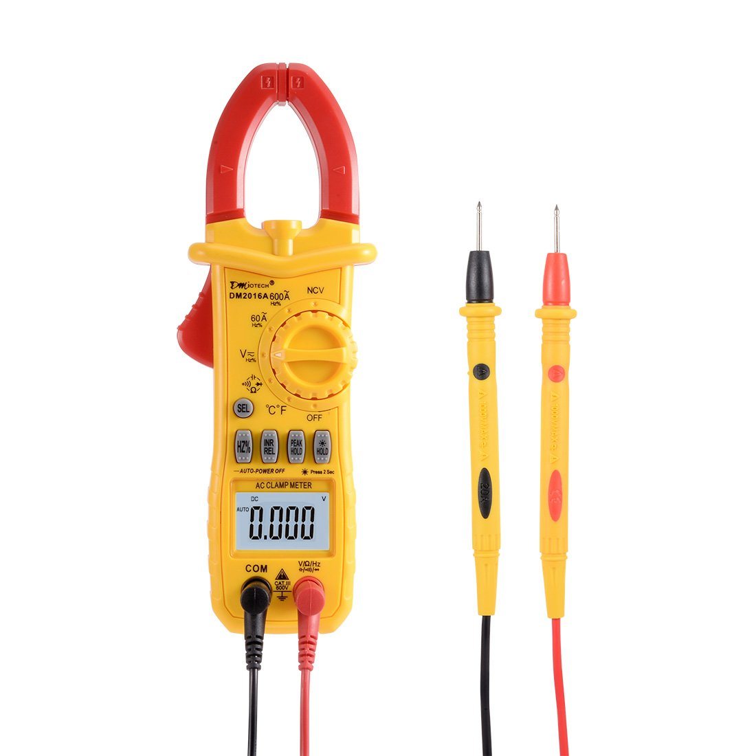 DMiotech DM2016A 600A AC Clamp Meter Volt Resistance Tester with LCD Display Ammeter Multimeter w Temperature NCV Test