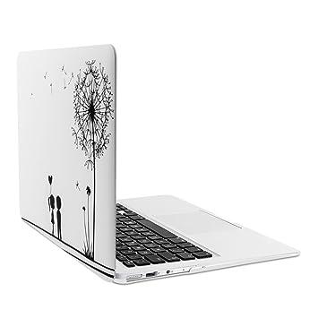 kwmobile Carcasa Dura de Laptop para Apple MacBook Air 13(2011-mediados de 2018) - diseño de niños y Diente de león Negro/Blanco - Funda Fina de Goma