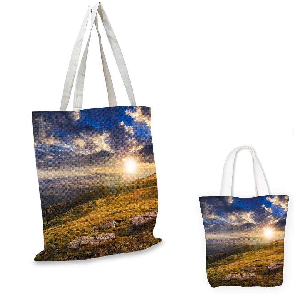 14x16-11 Nature canvas messenger bag Mountain Hills Landscape with Vibrant Sunlights on Meadow Misty Rural Panorama foldable shopping bag Blue Amber Dust