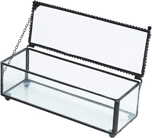 Caja de cristal con tapa de color negro con borde de cordón, para guardar joyas decorativas, personalizable, gran caja rectangular, anillos, pulsera, organizador dorado, decoración del hogar: Amazon.es: Hogar