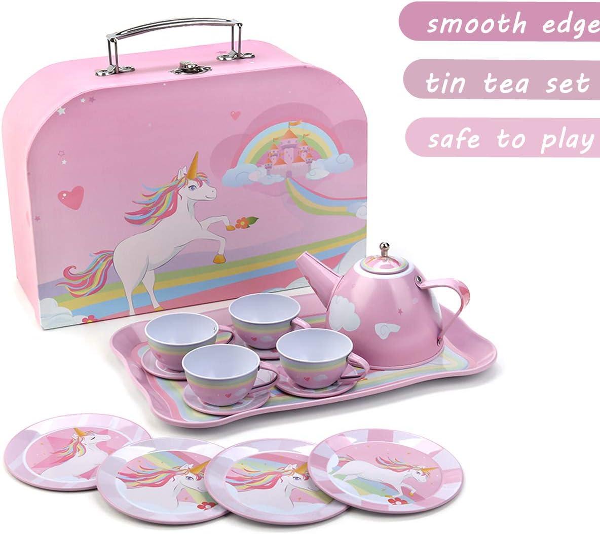 24 Piece Unicorn Kids Tea Party Set for Little Girls Princess Gift Pretend Toy Tin Tea Set with Carrying Case Princess Tea Time Kitchen Pretend Play Tea Set Toys