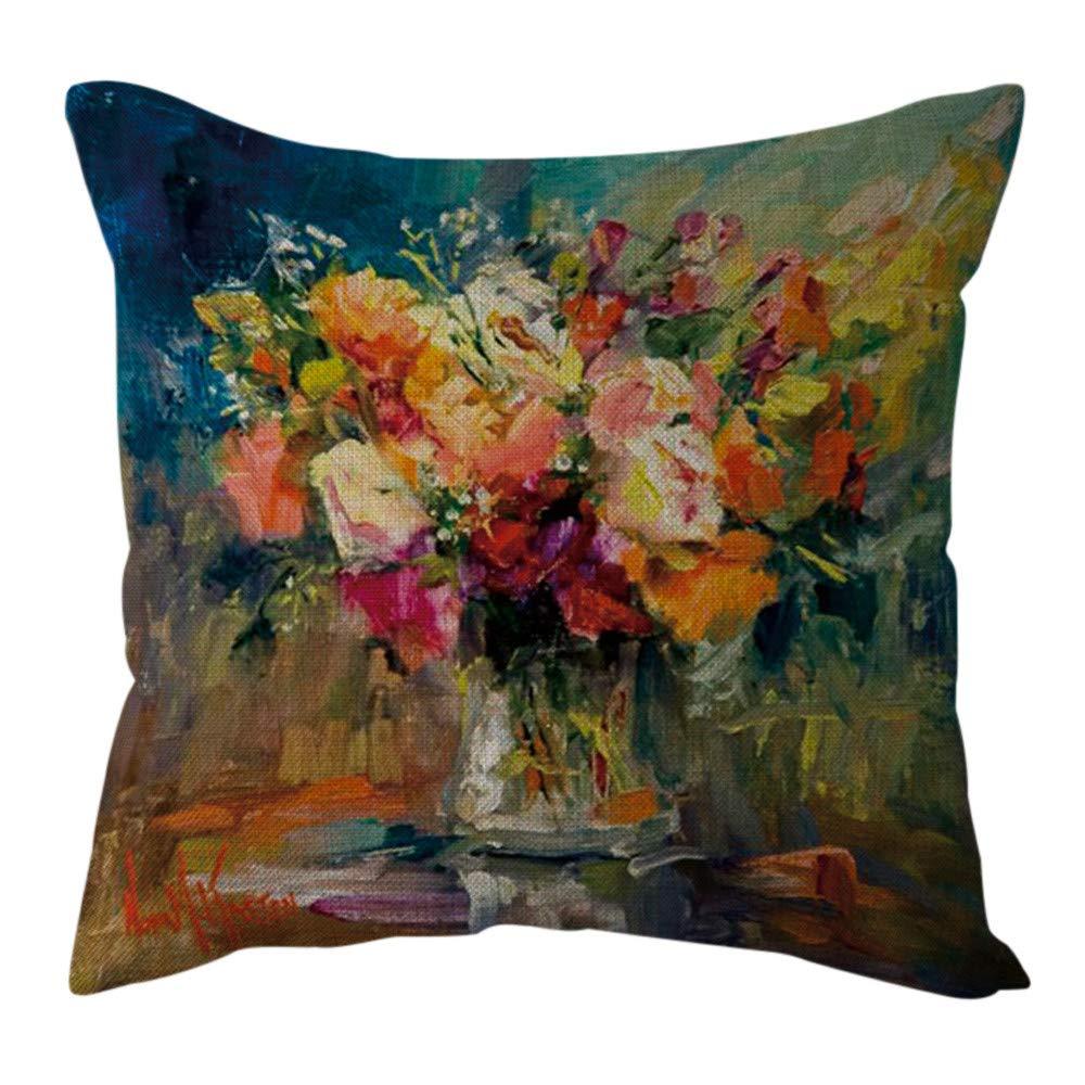 Pgojuni Cotton Linen Butterfly Home Decorative Throw Pillow Case Waist Cushion Throw Pillow Case for Sofa/Couch 1pc 45X45 cm (F)