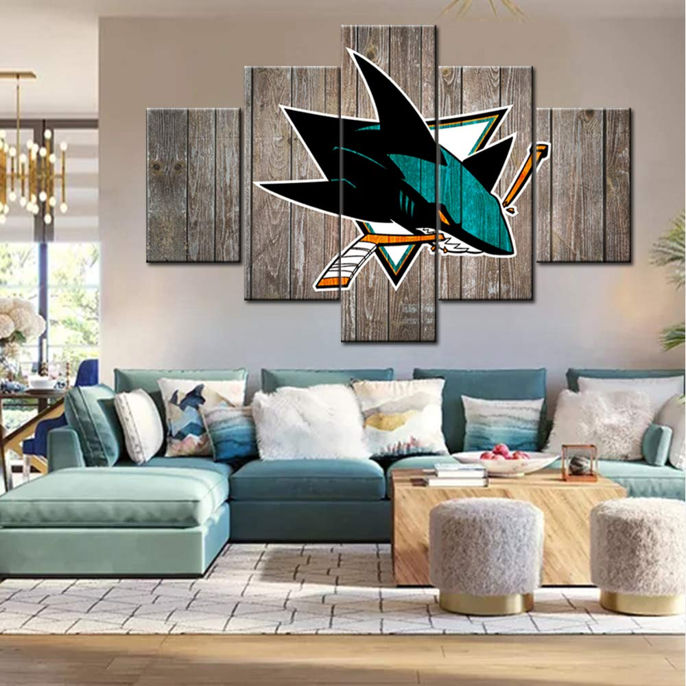 Large Canvas Wall Art Black Green Picture For Bedroom National Hockey League Painting San Jose Sharks Team Logo Poster Wooden Vintage Artwork Giclee Framed Ready To Hang 5 Panel 60wx40h Inches Amazon In Home