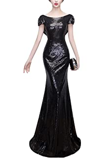 KAXIDY Ladies Long Sequins Maxi Evening Beaded Dress for Wedding Gown Bridesmaid Party