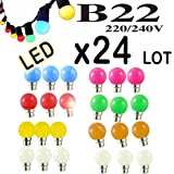Lot de 24 ampoules Led B22 1W Guirlande Rouge, Jaune, Verte, Orange, Rose, Bleu, Blanc chaud Incassable (équivalence 15W)